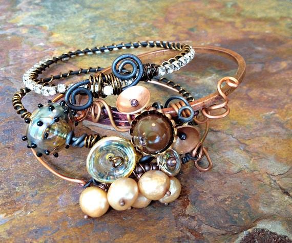 Warmed up Copper Stacked Bangle Bracelet Set - Set of 4 bangles-  In Stock