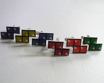 SALE let's turn nintendo off - GREEN tetris cufflinks