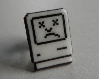 tragic icon - sad mac apple pin