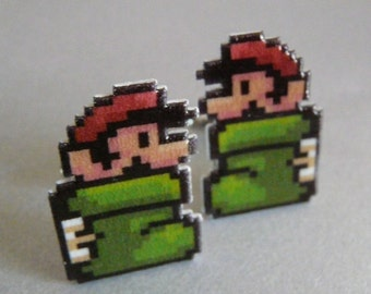 SALE there once was a plumber who lives in a shoe - super mario 3 cufflinks