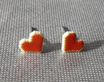 geek love - pixellated heart earrings