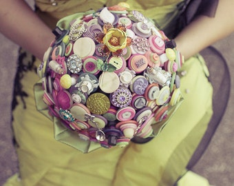 The Curiouser and Curiouser Button Bouquet Wedding  - Alice in Wonderland