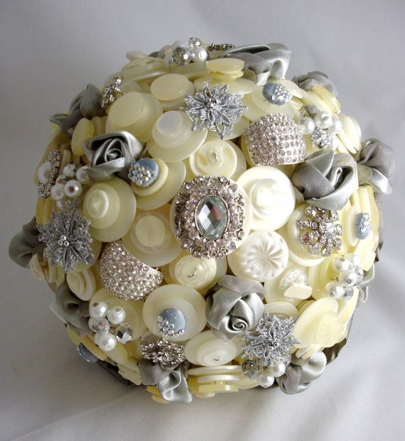 Button Bridal Bouquet Etsy : Items similar to the pewter and pearl wedding button