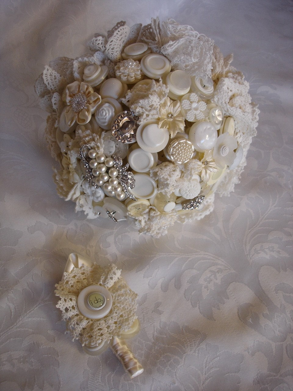 The Tea and Lace Wedding Button Bouquet and Boutonniere