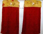 SET of 2 - Hanging Cloth Top Kitchen Hand Towels - Retro Harvest Gold Tea for Two Print, Burgandy Towels - Please read description
