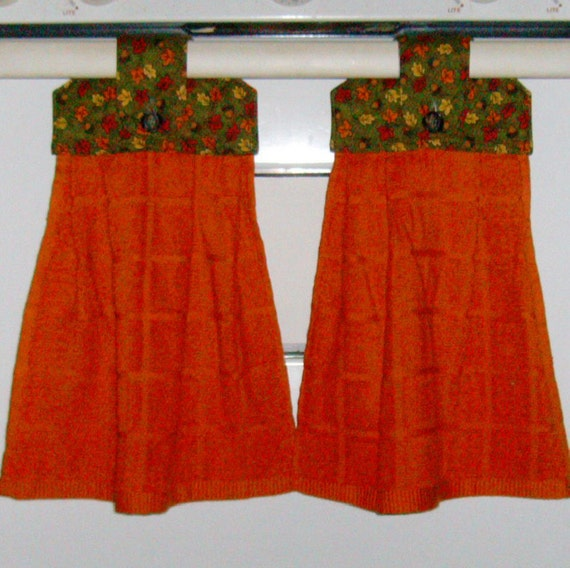 Hanging Cloth Top Kitchen Hand Towels - Leaves and Acorns Tops - Orange Towels - SET OF 2