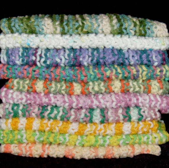 BUNDLE OF 10 - All Variegated - Knitted Cotton Dish Cloths - (bundle D)