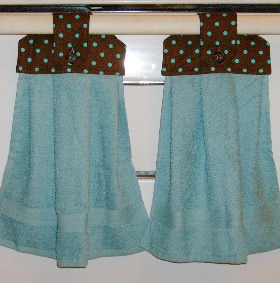 Hanging Cloth Top Kitchen Hand Towels Chocolate Brown And