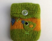 Pretty birdie and flower green yellow striped hand knit felted cellphone cozy pouch