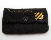 Dark brown felted pouch purse clutch with needle felted happy busy bee