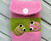 Pretty pink green striped hand knit felted pouch purse cozy with two happy bugs RESERVED