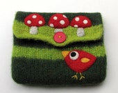 Pretty green striped knit felted pouch purse with a needle felted red birdie and toadstools