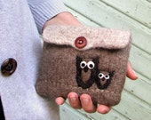 Pretty brown hand knit pouch purse cozy with two little owls