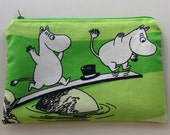 Light apple green zippered pouch pencil case with Moomins RESERVED