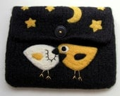 Black hand knit felted pouch with two birdies in love under the stars and moon