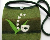 Felted large bag purse mossy green wool handbag shoulderbag hand knit needle felt white bird and lily of the valley