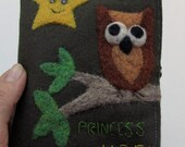 Cozy pouch dark khaki wool fabric needle felted brown owl on branch RESERVED
