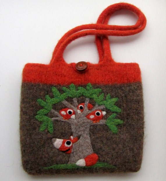 Felted bag purse wool pouch handbag tote hand knit needle felted birds fox tree