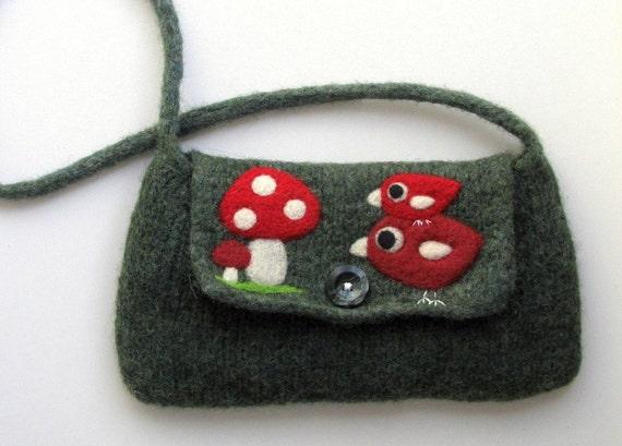 Felted bag purse  green wool handbag shoulderbag hand knit needle felt birds and musrooms