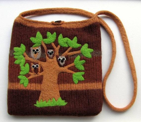 Felted large bag purse brown wool handbag shoulderbag hand knit needle felt brown owls in a tree