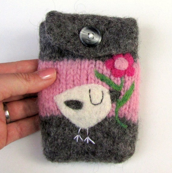 Felted bag purse wool pouch cellphone cozy pink gray needle felt little birdie and flower