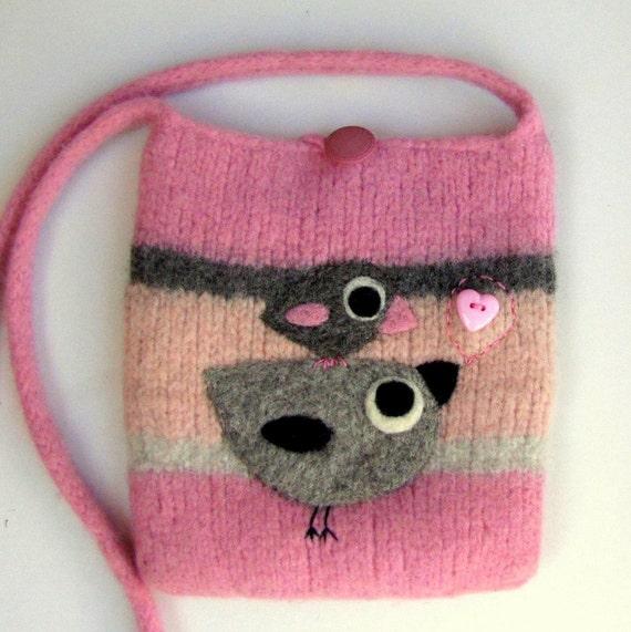 Felted bag purse pink wool handbag shoulderbag hand knit needle felt gray birdies birds