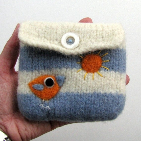 Felted bag purse blue white wool pouch cozy hand knit needle felt little birdie and sun
