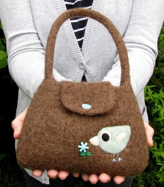 Felted bag purse brown wool handbag purse hand knit needle felt bird and flower