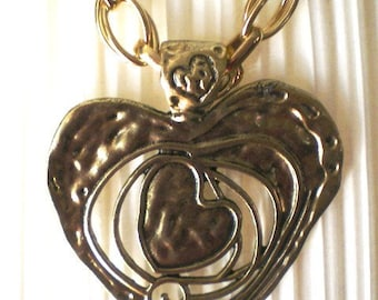Huge brass Heart with large brass chain