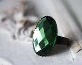 Christmas sale - Emerald ring - emerald green colored glass and brass ring base - SALE 20% OFF