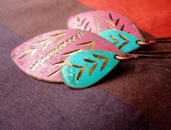 Magenta and teal vintage incised charm earrings - SALE 20% OFF