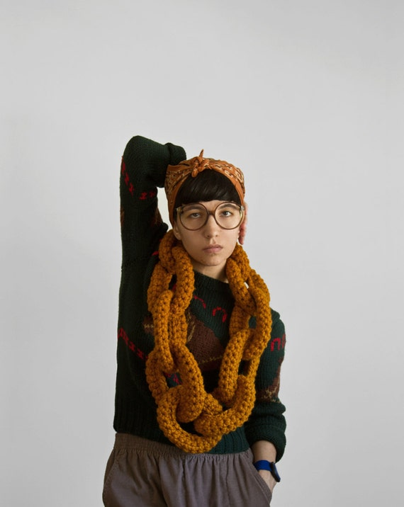 The Dookie Chain Scarf in Butterscotch Pudding