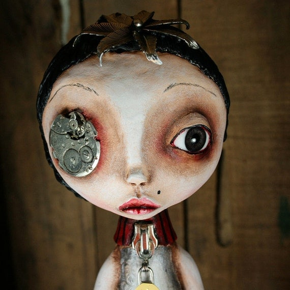 RESERVED FOR CONNIE B- First Payment Steampunk Souls Art Doll Mixed Media Christmas Tree Topper