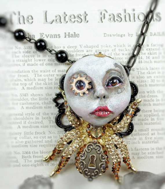 OOAK Cameo Sculpture Goth Steampunk Soul Spider Pendant Necklace
