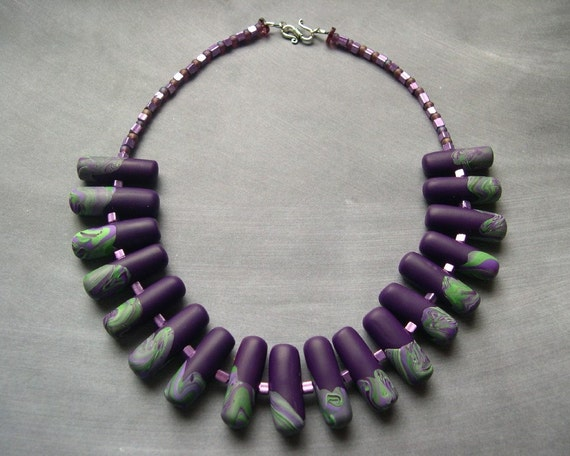 Violet  and Green Collar Polymer Necklace