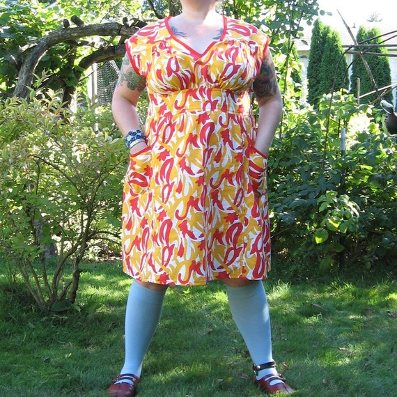 Favorite Dress - plus size - flame red saffron yellow vintage cotton print fabric - 55B-42W-57H