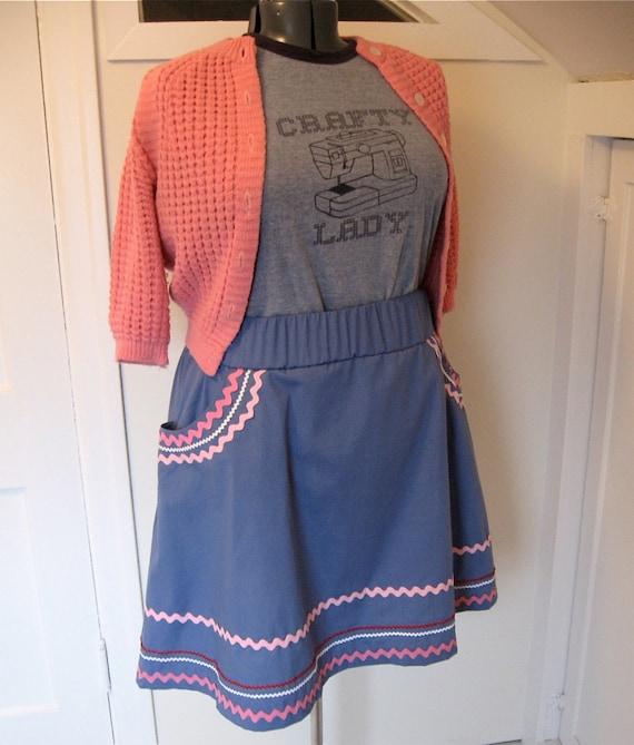RickRackRiot Skirt - plus sized - blue cotton fabric and rick rack trims - 41W-62H