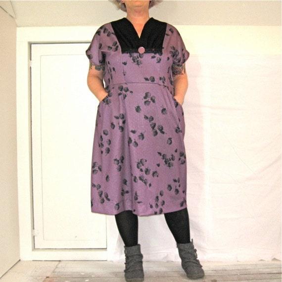 Slimuette Dress - plus size - black lace and purple berry print nylon fabric - 53B-49W-60H