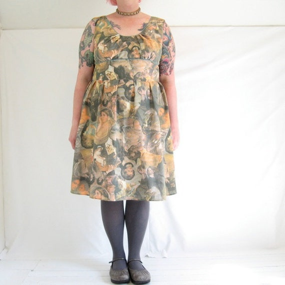 PrettyArt Dress - plus size - Classic masterpieces of art vintage print fabric - 49B-42W-60H