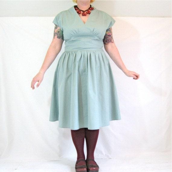 Dandy Dress - plus size - seafoam aqua vintage cotton fabric - 47B-38W-60H