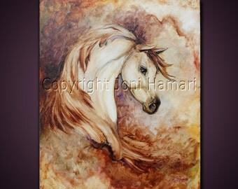 Original Sculpted Painting by Joni Hamari, Oil, horse portrait, equine