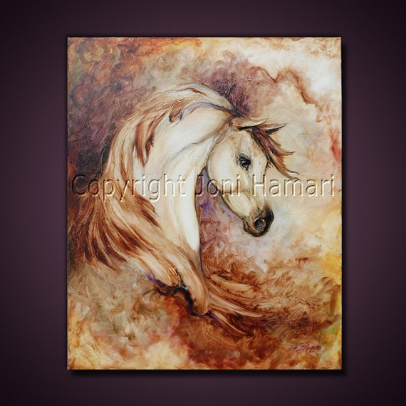 Original Sculpted Painting by Joni Hamari, Oil, horse portrait, equine