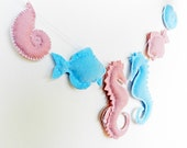 DIY Felt Pattern - Soft Felt - Under the Sea Banner / Mobile - Includes Seahorse, Fish, Snail - Sewing Pattern - Instant Download