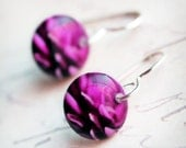 Magenta Petals Earrings - Handmade, sterling silver earwires