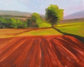 Original Landscape Oil Painting, Farm Field, Trees, Small 8x10, Gallery Canvas, Countryside, Wall Decor, Green, Brown, Sienna Spring