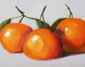 Canvas Still Life, Tangerine, Orange, Tropical Fruit, 5x7, Small, Kitchen Art, Kitchen Decor, Fruit, Wall Art