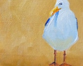 Small, Bird Painting, Seagull, Original Oil, Canvas, Bird, Blue, Gold, White, 4x4, Beach, Miniature