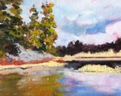 Landscape Oil Painting, Small, Original, Oregon Landscape, River, Trees, Dechutes River,  5x7, Canvas