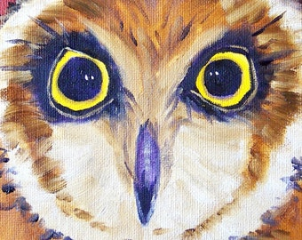 Owl Painting, Oil on Canvas, Barn Owl  Bird, Original Small 6x6, Brown Wildlife, Animal Eyes, Feathers, Wall Decor, Blue and Yellow