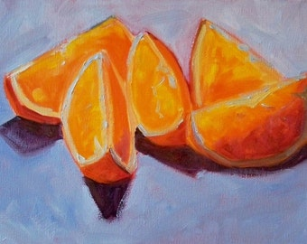 Fruit Painting, Oil Painting, Still Life, Original 9x12 Canvas, Citrus Fruit, Orange Art, Blue Kitchen Decor, Kitchen Art, Wall Decor